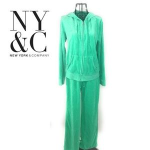 NY&C Zip Up 2 Piece Hoodie Sweater & Sweatpants M